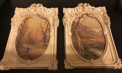 Antique Vintage Ornate Barbola Wood Frames French Bow Roses Oil Painting Nature