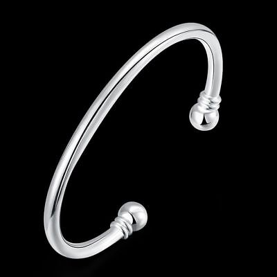 Fashion 925Sterling Solid Silver Men Jewelry Bright Round Bangles Bracelet K027