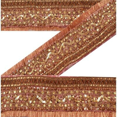 Sanskriti Vintage Bandhani Sari Border Antique Hand Beaded 1 YD Trim Sewing