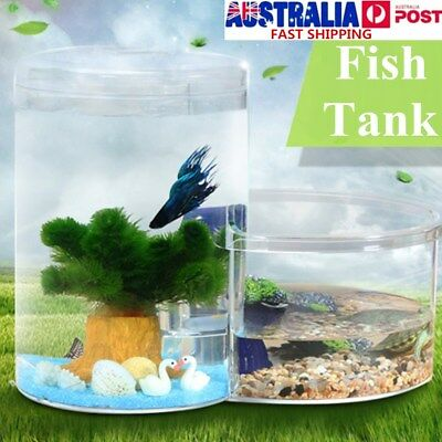 2 in1 Acrylic Turtle & Fish Ecology Aquarium Home Desktop Office Tank Decor