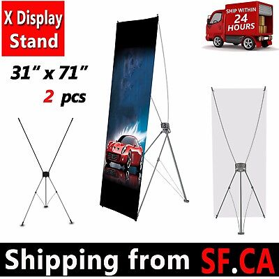 """2 PACK - 31"""" x 71"""" Tripod X Banner Stand Trade Show Sign Display X stand 80x180"""