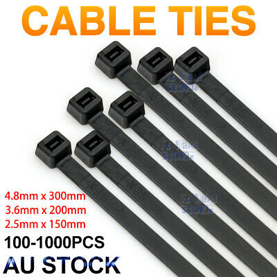 Bulk Cable Ties Zip Ties Black 4.8mm x 300mm & 3.6mm x 200mm Nylon UV Stabilised