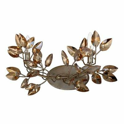 Misthaven Silver Leaf 2-Light Wall Sconce with and Antique Gold Paint and