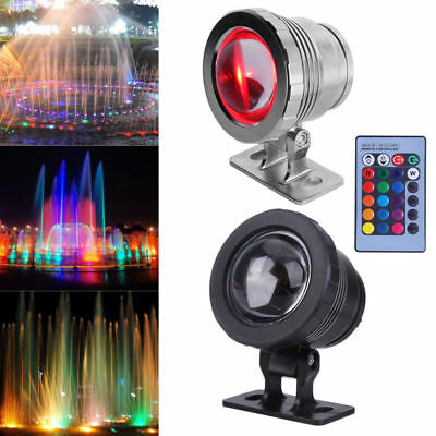 Waterproof Underwater RGB LED Spot Light Pond Aquarium Lamp+Remote Control 5/10W