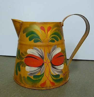 Beautiful Hand Painted Toleware Tin Pitcher Artist Signed