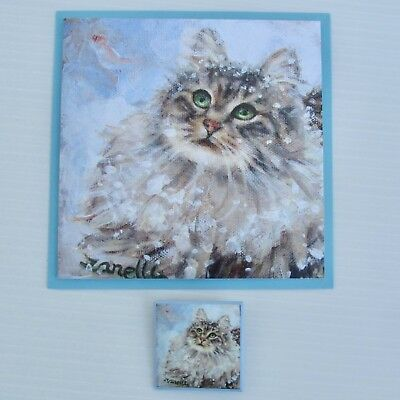 Maine Coon Cat PIN & NOTE CARD SET Purrrfect Gift Adorable TABBY CAT Brooch Blue