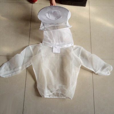 Professional Beekeeping Bee Keep Suit Jacket Pull Over Smock w/ Veil White#2