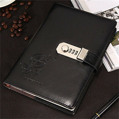 Vintage Combination Lock Leather Cover Journal Diary Password Notebook Black