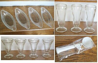 Vtg 60s JEANNETTE GLASS 12 Pc Soda Fountain Ice Cream Parlor Set New Old Stock