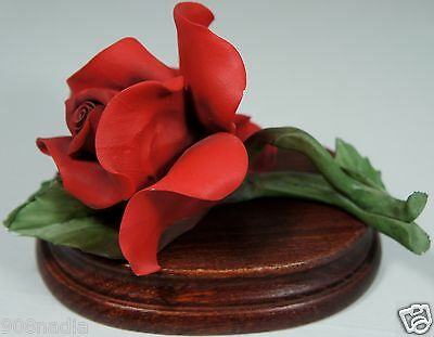 Vintage Capodimonte Porcelain Red Rose Figurine On Wooden Stand