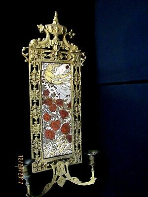 Asian Vintage Brass Framed Plaque Wall Sconce Double Arm Candle Stick Holder