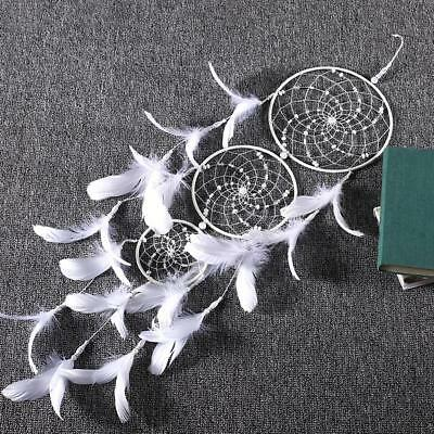 Large White Handmade Dream Catcher Feathers Bead Wall Car Hanging Ornament Decor