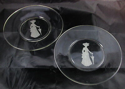 Vintage Clear Glass Frosted Etched Victorian Classical Lady Gibson Girl Plate x2