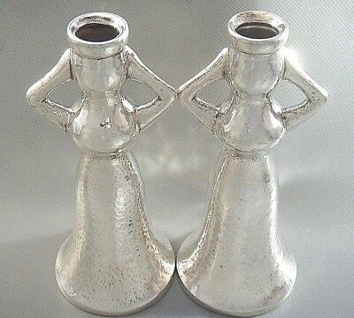 2 Rare ILIAS LALAOUNIS Hammered STERLING SILVER Female Figure Candle Holders