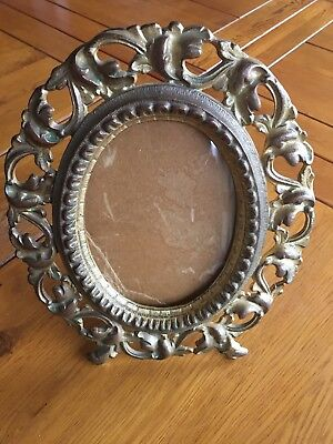 Antique Gold Colored Brass Picture Frame oval