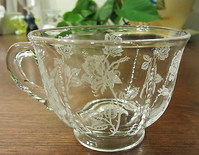 """Heisey """"Rose"""" Etched Waverly Cup(s)"""
