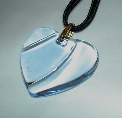 Authentic BACCARAT France Aqua Blue HEART Coeur Crystal Pendant Necklace in Box