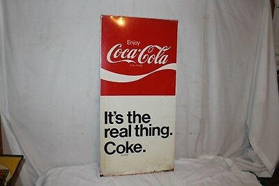 "Large Vintage c.1970 Coca Cola Soda Pop Gas Station 40"" Metal Sign"