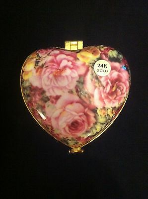 LILY CREEK Heart Shaped Floral 24K Gold Trim Hinged Gift Trinket Box
