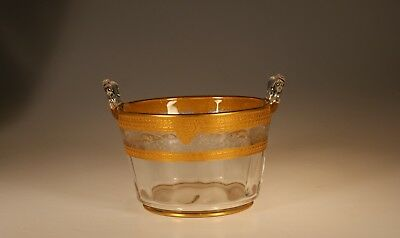 Vintage Deco Crystal Central Glass Works Ice Tub Lotus Label Etch & Gold c.1925