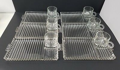 Vintage Hazel Atlas Ball Ribbed Snack or Sandwich Plate with Cup. Set of 6.