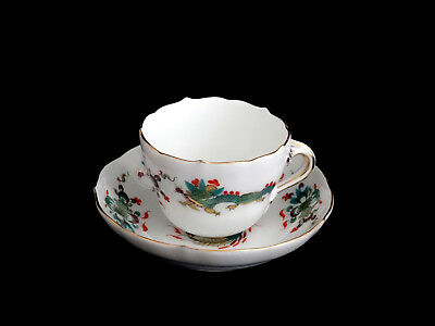 Meissen Green Dragon Red Accent Demitasse Cup & Saucer Crossed Swords Germany