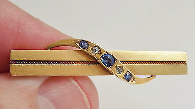 Stunning Antique Victorian 15ct Gold Sapphire & Diamond set Brooch c1900