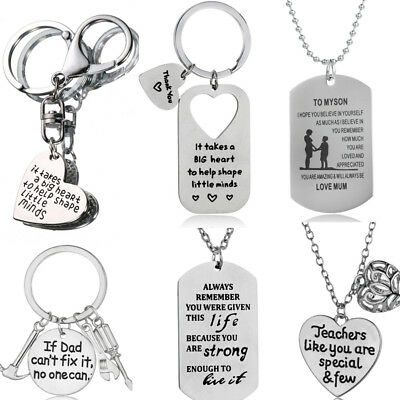To My Daughter Son Christmas Gifts Mom Mum Dad Family Pendants Necklace Xmas New