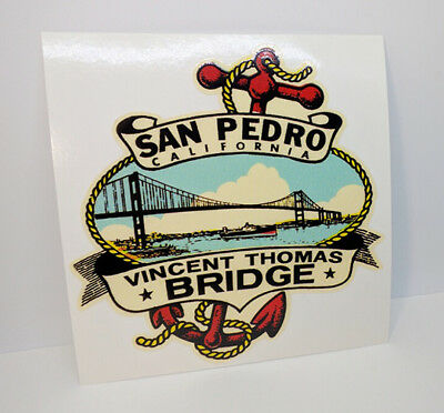 Vincent Thomas Bridge San Pedro CALIFORNIA Vintage Style DECAL / Vinyl STICKER