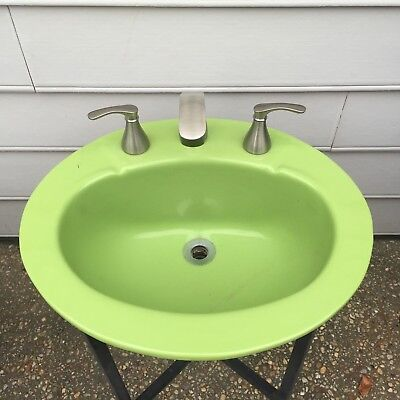 Vtg Apple Green Oval Kohler? Porcelain Top Mount Bathroom Sink 20 byb 17