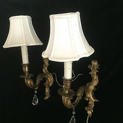 Lovely Pair of Antique Bronze Brass Scrolled Rococo Single Wall Sconces & Shades