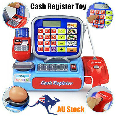 Kids Electronic Cash Register Calculator Toy Pretend Cashier Learning Play Toy A