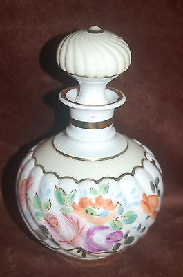 Vintage Antique French Porcelain Hand Painted Perfume Flacon Bottle! Very Nice!