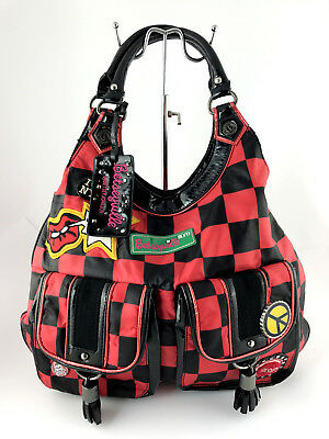 BETSEYVILLE Betsey Johnson Red/Black Checkered New York Taxi Purse Handbag Large