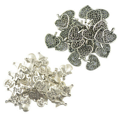 100pcs Tibetan Silver Charms For Jewelry Making Heart/ Angel Wing Pendants