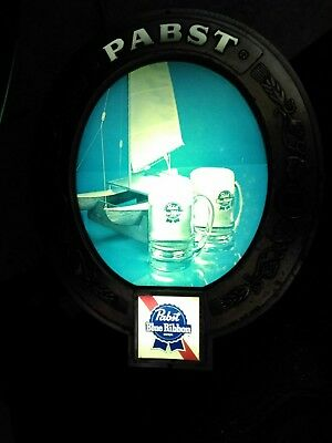 Vintage Pabst Blue Ribbon PBR Beer Lighted Wall Bar Sign - Oval Sign Classic