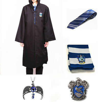 Harry Potter Ravenclaw Robe Cloak Cape  Tie Scarf Necklace Badge Pin Set Costume