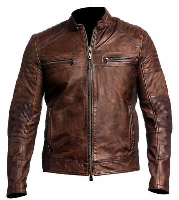 Vintage Cafe Racer Men's Brown Retro Classic Biker Genuine Leather Jacket