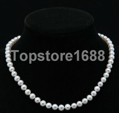 """7-8mm Natural White Freshwater Pearl Necklace 18"""" AAA++"""