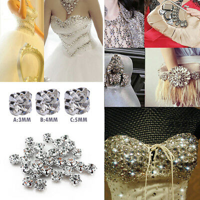 200pcs 3-5mm Bling Clear Loose Faceted Sew On Crystal Diamantes Rhinestone Beads