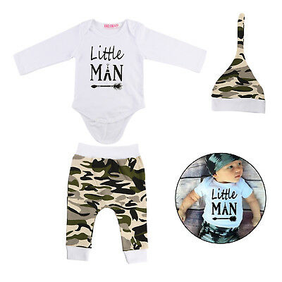Cozy Newborn Baby Boy Top Romper Camoufalge Pants 3Pcs Outfits Set Clothes UK