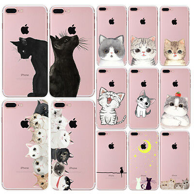 Silicone Chat Soft TPU Case Cover Etui Housse Coque For IPhone 5 6 6S 7 8 PLUS X