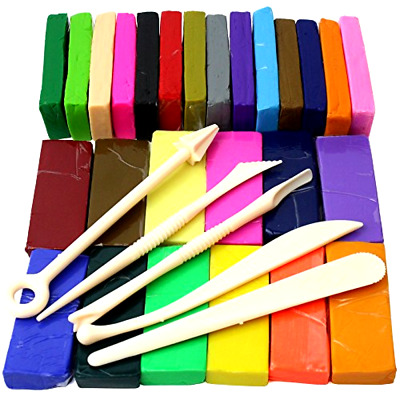 Oven Bake Polymer Clay Block Modelling Material 26 Colours With 5 Tools 650g