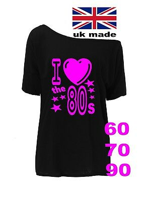 Retro off the shoulder 1990s 1980s 1970s 1960s T Shirts Sizes XS TO 5X  party