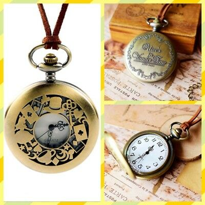 Vintage Alice In Wonderland Pocket Watch Sweater Necklace Watch With Long Chain