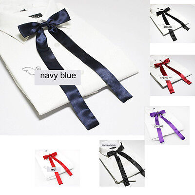 Women Girl Rayon Thin Bowtie Neck Tie School Ribbon Neck Wear Wedding Party