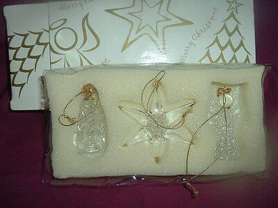 Avon Set of 3 Spun Glass Ornaments, Snowflake, Angel, Tree with Gold Trim, 1998