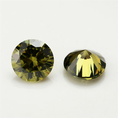 100pcs 0.8~5.0mm Black Olive loose cz stone Round Brilliant cut Cubic Zirconia