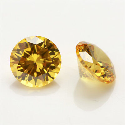 100pcs 0.8~15mm Golden Yellow loose cz stone 5A Round cut Cubic Zirconia gems