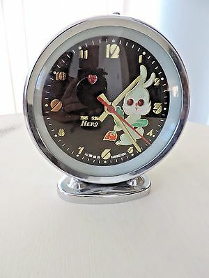 Vintage animated alarm clock hero bunny rabbit children table mantle shelf clock